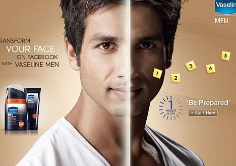 A Vaseline advert for men's skin-whitening cream